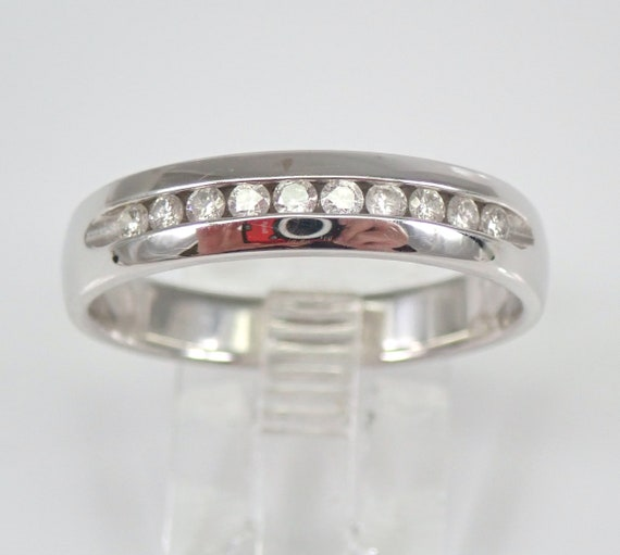 Mens Ladies White Gold Diamond Wedding Band Anniversary Ring Size 10 Unisex