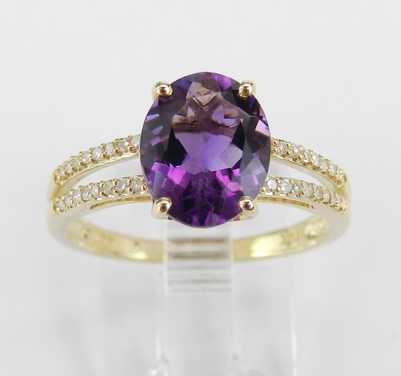 Diamond and Amethyst Ring, Yellow Gold Engagement Ring, Real Amethyst Ring, Size 7, February Gemstone, Purple Gemstone Ring