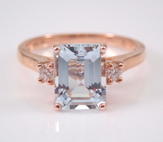 Three Stone Aquamarine and Diamond Engagement Ring Rose Gold Emerald Cut Aqua Size 7 March Gemstone