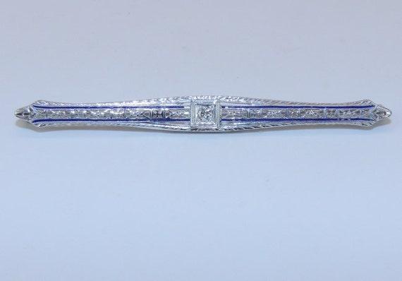 Diamond and Enamel Brooch Pin Art Deco Pin Antique Filigree Brooch 14K White Gold Circa 1920s