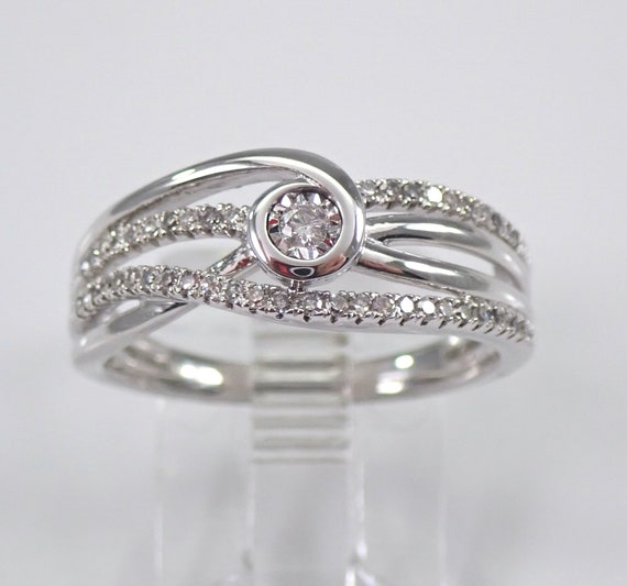 Diamond Wedding Ring Crossover Anniversary Band White Gold Multi Row Ring Size 7 FREE Sizing
