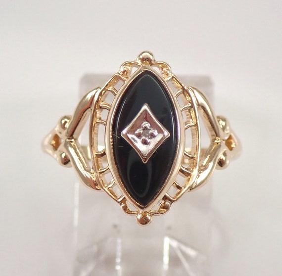 14K Yellow Gold Diamond and Onyx Antique Art Deco Filigree Ring Size 6