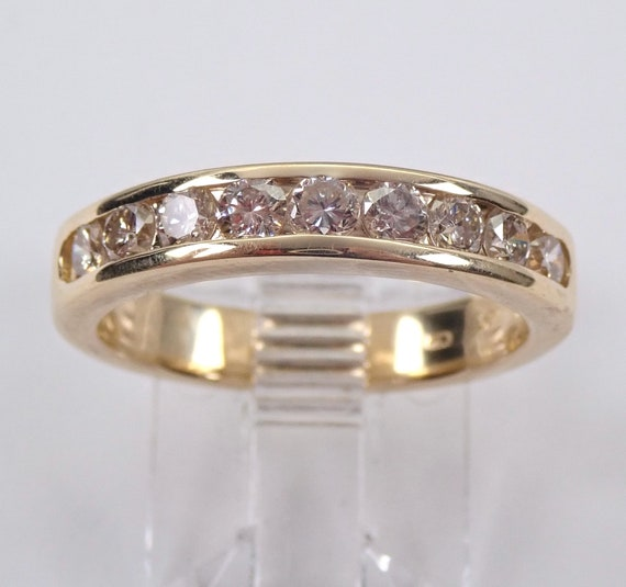 Diamond Wedding Ring Anniversary Band 14K Yellow Gold Stackable Size 6.5