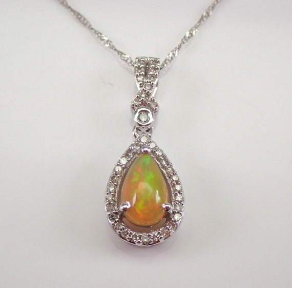 "Diamond and Ethiopian Opal Halo Drop Pendant Necklace White Gold 18"" Chain October Birthstone"