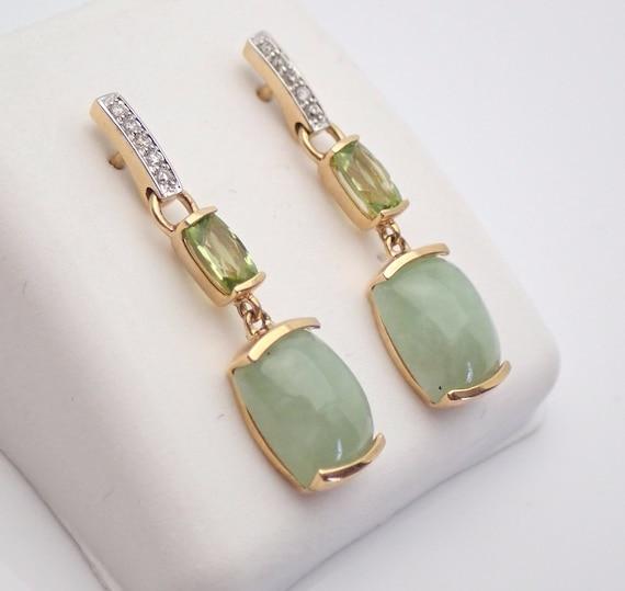 14K Yellow Gold Jade Peridot Diamond Drop Earrings Green Healing Gemstone