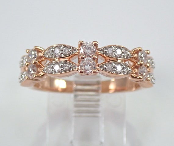 Rose Gold Diamond Anniversary Band Wedding Ring Size 7 Stackable Design