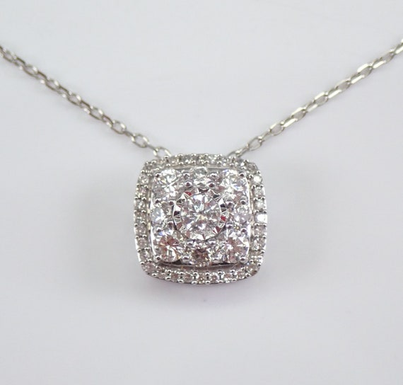 "Diamond Cluster Pendant White Gold Cushion Cut Halo Wedding Necklace Chain 18"""