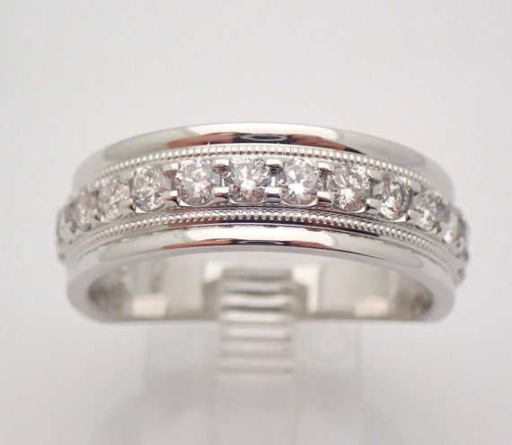 Men's 1.00 ct Diamond Wedding Ring Anniversary Band set in White Gold Size 10.25