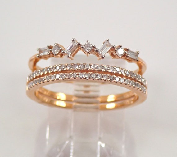Rose Gold Diamond Anniversary Ring Multi Row Wedding Band Size 6.75