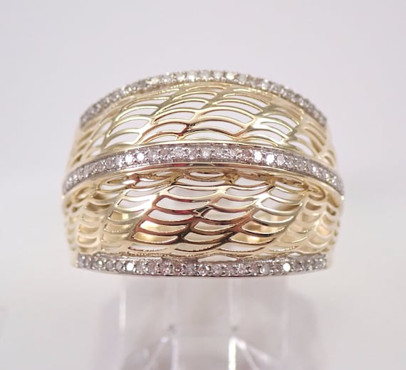 Diamond Wedding Ring Anniversary Band Yellow Gold Size 7 Weaved Domed Band FREE Sizing