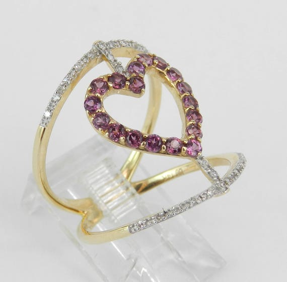 14K Yellow Gold Heart Ring, Diamond and Garnet Ring, Rhodolite Garnet Ring, Heart Cocktail Ring, Modern Fashion Ring, Size 7 FREE Sizing