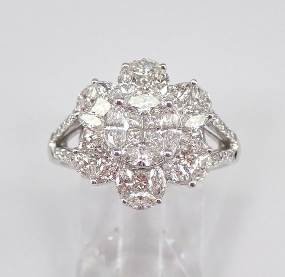 18K White Gold 1.74 ct Round Brilliant Diamond Cocktail Cluster Ring Size 6.75 FREE Sizing