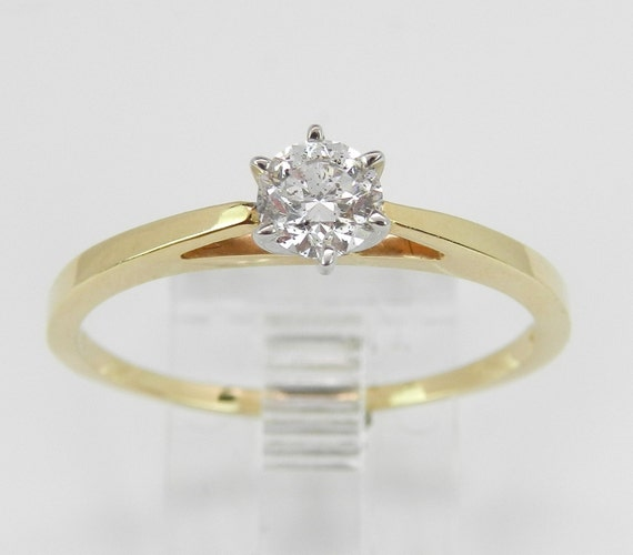Solitaire Diamond Engagement Ring 14K Yellow White Gold Round Brilliant