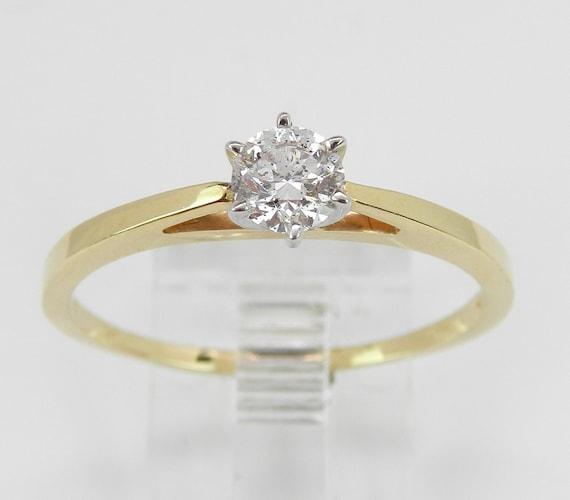 Solitaire Diamond Engagement Ring 14K Yellow White Gold Round Brilliant