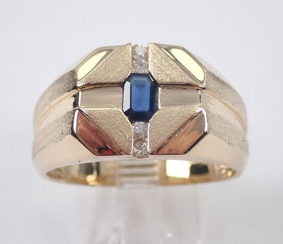 Vintage Estate 14K Yellow Gold Mens Sapphire and Diamond Ring Size 10.5