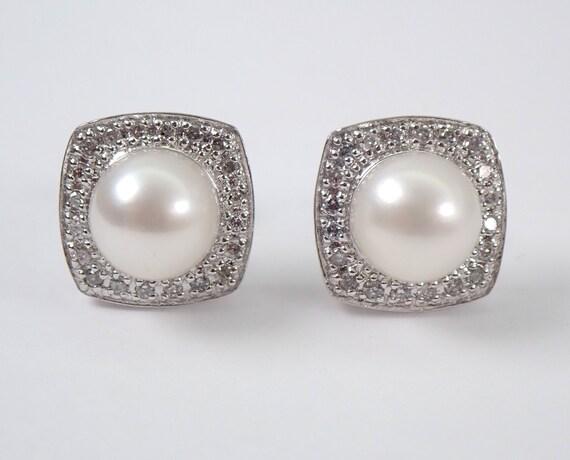 White Gold Pearl and Diamond Stud Earrings June Wedding Studs Cushion Shape