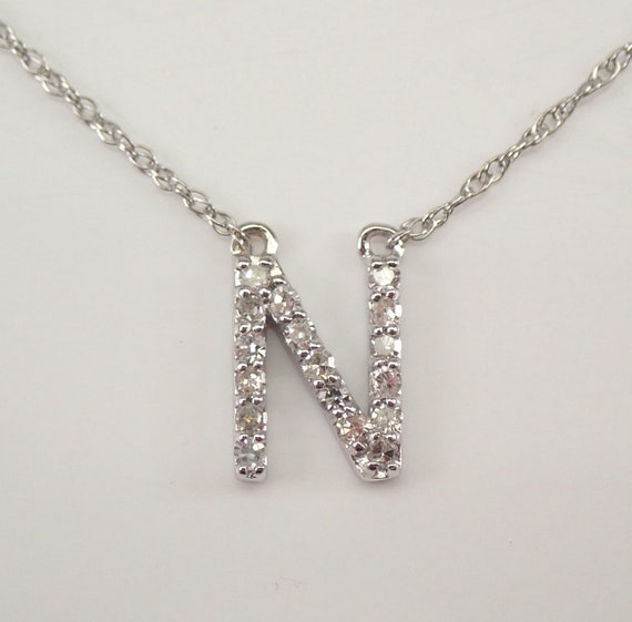 """White Gold Diamond INITIAL N Pendant 18"""" Necklace Chain Personalized Gift"""