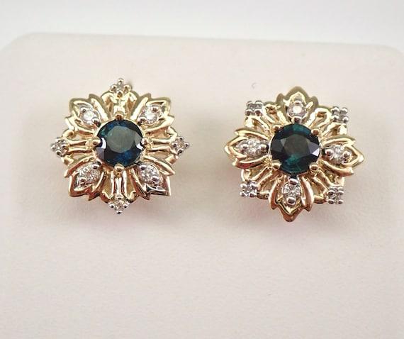 Yellow Gold Sapphire and Diamond Stud Earrings Snowflake Studs September Birthstone