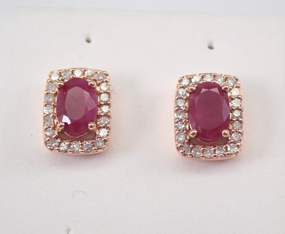 Ruby and Diamond Stud Earrings Halo Studs 14K Rose Gold July Birthstone 1.25 ct