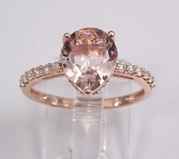 Pear Morganite and Diamond Engagement Ring Rose Pink Gold Size 6.75 Pink Aqua Traditional Simple Band
