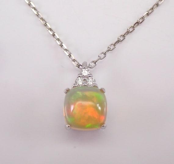 "14K White Gold Diamond and Cushion Cut Ethiopian Opal Pendant Necklace 18"" Chain October Gem"