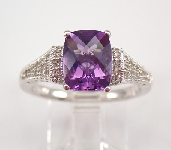 Diamond and Cushion Cut Amethyst Engagement Ring White Gold Size 7 February Birthstone FREE Sizing