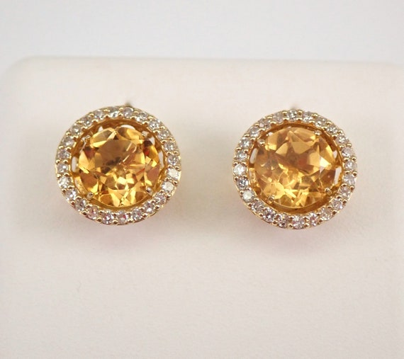 14K Yellow Gold Diamond and Citrine Stud Earrings Halo Jackets Set Studs November Birthstone