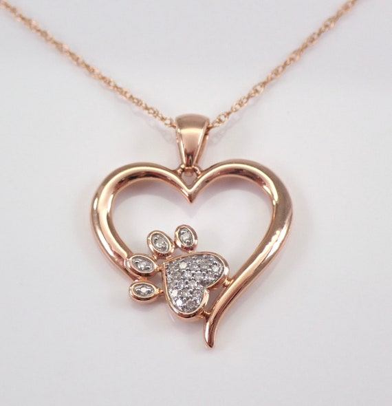 Rose Gold Diamond PAW Print Heart Cluster Pendant Wedding Gift Necklace Chain 18""