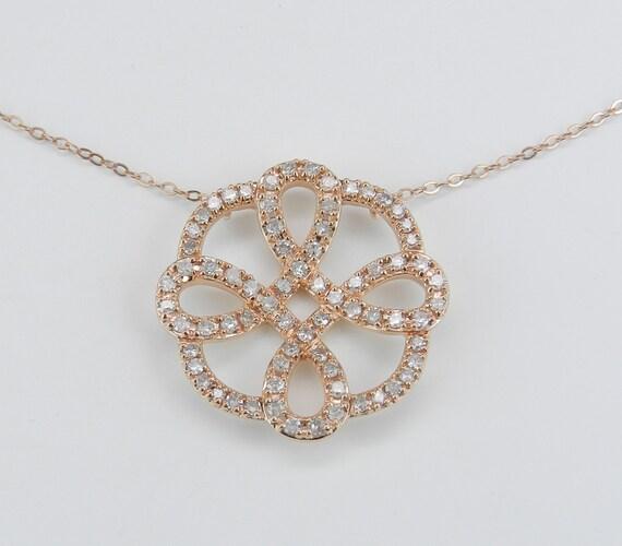 """Diamond Cluster Necklace 17.5"""" Chain Unique Celtic Knot Pendant 14K Rose Gold"""