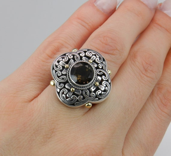 SALE Round Smokey Topaz Ladies Ring Sterling Silver 18K Yellow Gold Antique Finish