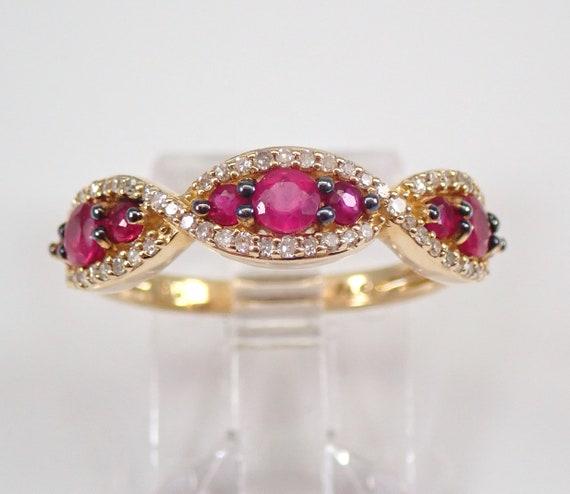 14K Yellow Gold Ruby and Diamond Wedding Ring Anniversary Band Size 7 July Gemstone FREE Sizing