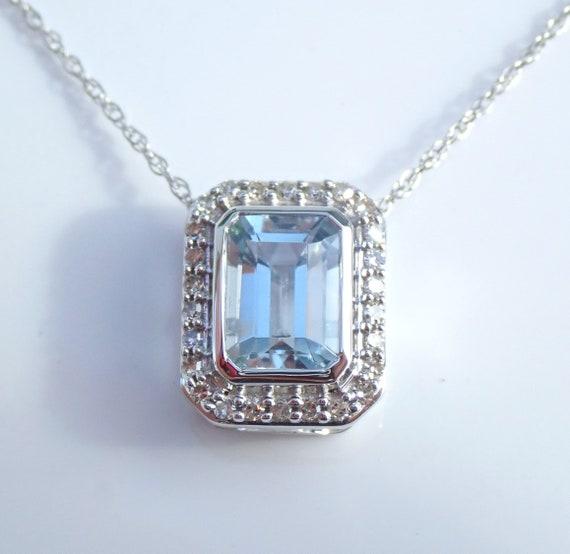 "White Gold Diamond and Emerald Cut Aquamarine Halo Necklace 18"" Chain Aqua Pendant March Gemstone"