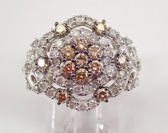 White Gold 1.50 ct Cognac and White Diamond Cluster Flower Ring Size 7