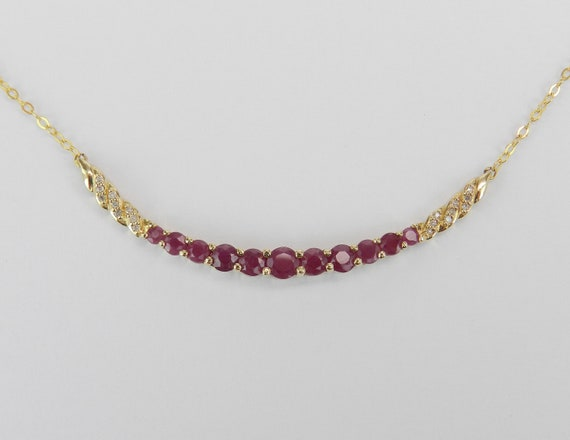 "Diamond and Ruby Necklace, Ruby and Diamond Bar Necklace, 14K Yellow Gold Gemstone Necklace, 17.5"" Chain, July Birthstone"