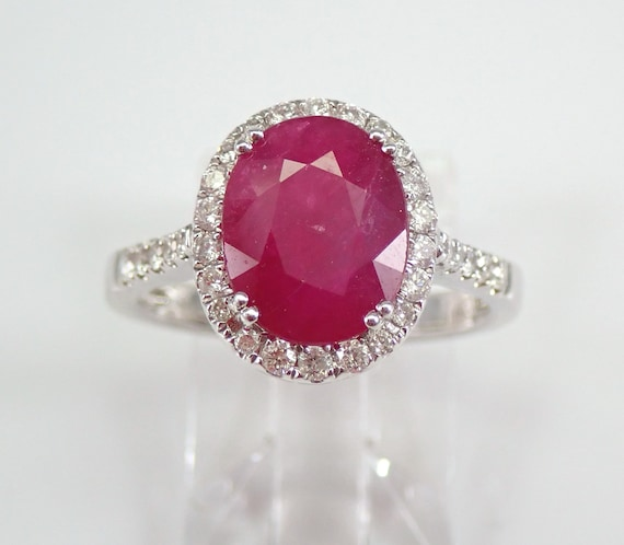 3.37 ct Diamond and Ruby Halo Engagement Ring 18K White Gold Size 6.5 July Birthstone FREE Sizing