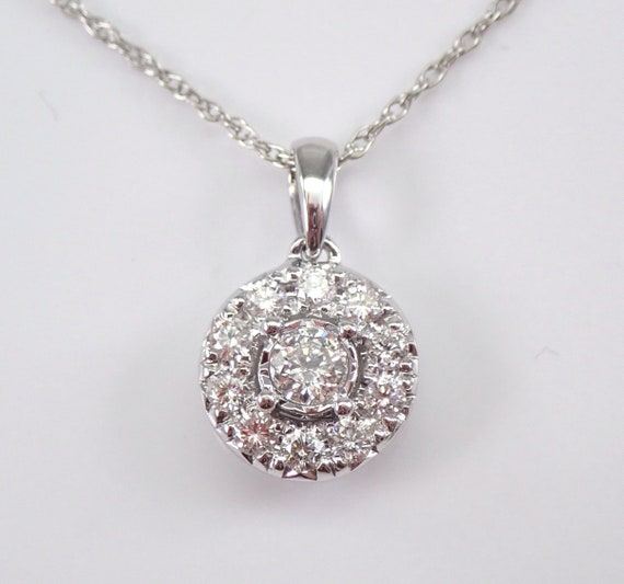 "White Gold 1/2 ct Diamond Halo Solitaire Pendant Necklace 18"" Chain Genuine Natural Round"