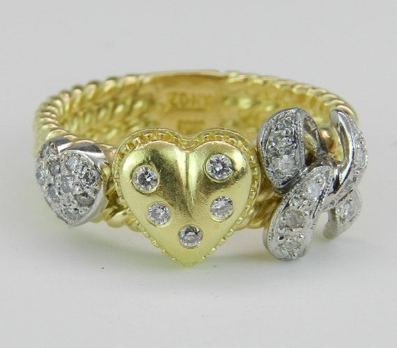 Diamond Heart Ring 18K Yellow Gold Ring Statement Right Hand Ring Size 7.75 FREE Sizing