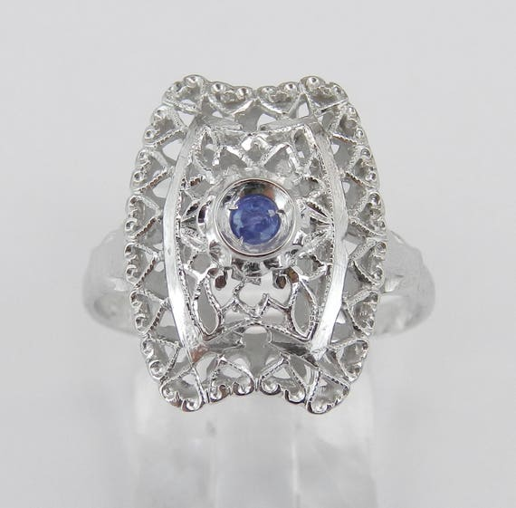Estate Sapphire Ring, Vintage Sapphire Ring, Solitaire Filigree Ring, 14K White Gold Statement Ring, September Gemstone, Something Blue