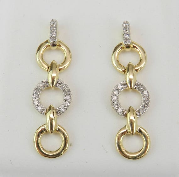 Yellow Gold Diamond Dangle Earrings Circles Past Present Future Wedding Gift