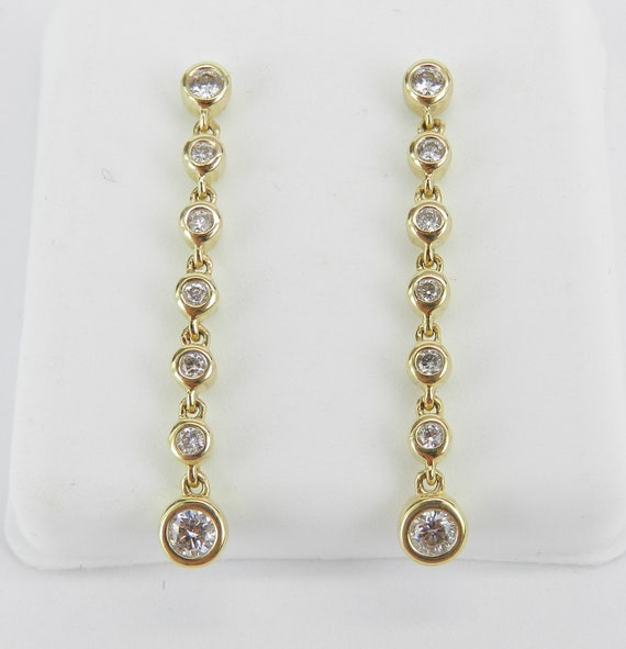 Yellow Gold Diamond Dangle Drop Earrings Wedding Gift Unique Bezel Set
