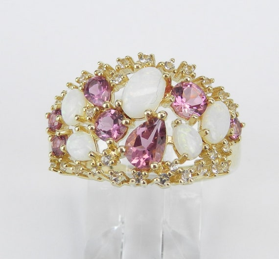 Yellow Gold Opal Pink Tourmaline White Sapphire Cocktail Ring Size 7 October Gem