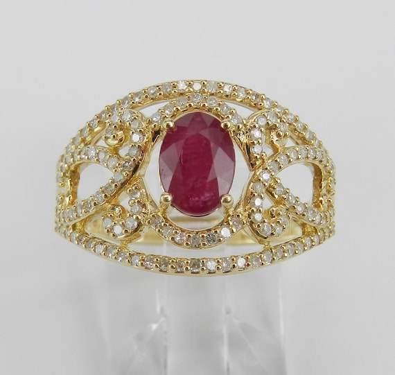 Ruby and Diamond Ring, 14K Yellow Gold Ring, Ruby Engagement Ring, Wide Gold Ring, July Birtstone Ring, Yellow Gold Ruby Band