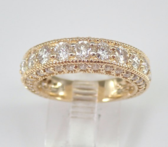 1.81 ct Diamond Wedding Ring Anniversary Band 14K Yellow Gold Size 6.75 FREE SIZING