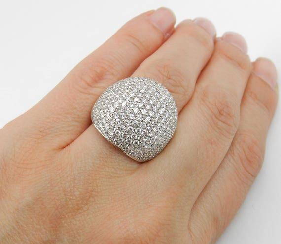 4.50 ct Diamond Wedding Ring Anniversary Band Pave Set Cluster 18K White Gold Size 7.5
