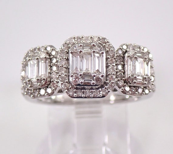 14K White Gold Three Stone Halo Diamond Engagement Ring Size 6 Emerald Cut Look Past Present Future
