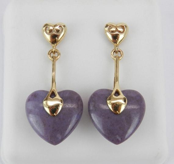 Jade Earrings, 14K Yellow Gold Heart Jade Earrings, Dangle Heart Earrings, Lavender Jade Earrings, Purple Jade Earrings