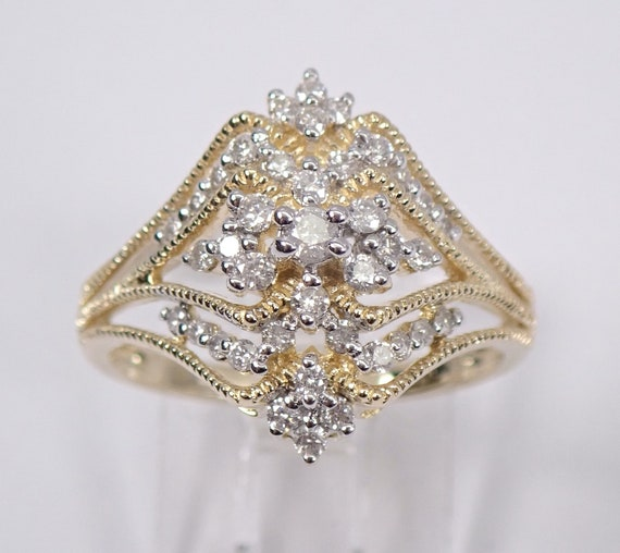 Diamond Cluster Cocktail Ring Right Hand Ring 1/2 ct Yellow Gold Size 7