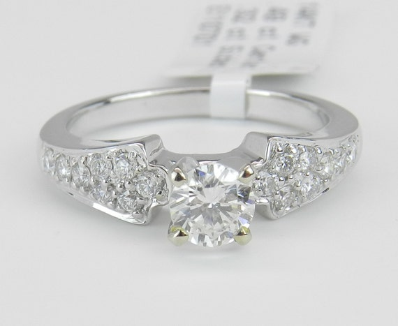 SUPER SALE! 14K White Gold Mounting Engagement Ring Setting, White Gold Semi Mount, Diamond Mounting, Cubic Zirconia Ring