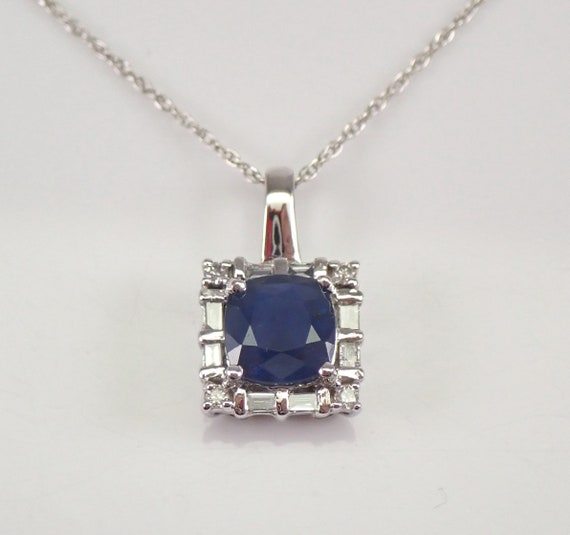 "Cushion Cut Sapphire and Diamond Halo Necklace Pendant White Gold 18"" Chain September Gemstone"