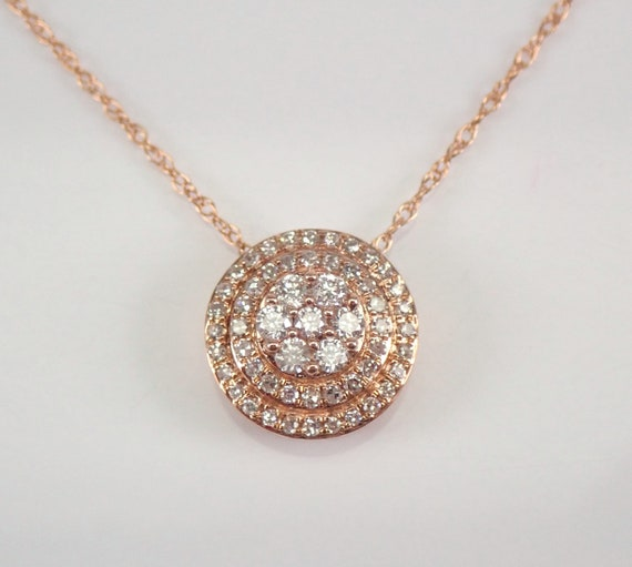 """Rose Gold Diamond Halo Solitaire Cluster Pendant Necklace 18"""" Chain Genuine Natural"""